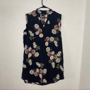 Amaryllis Black Red Floral Semi Sheer Dress XL